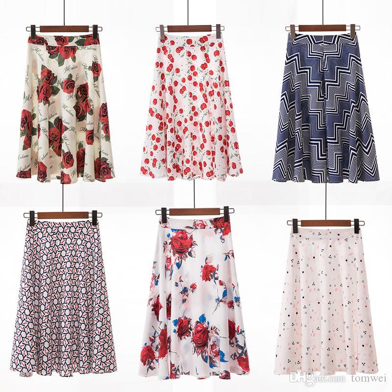 039836157 Falda de verano para mujer Impresión floral Faldas Tallas grandes Faldas  coreanas Ropa de playa Una línea por encima de la rodilla 2019 Envío ...