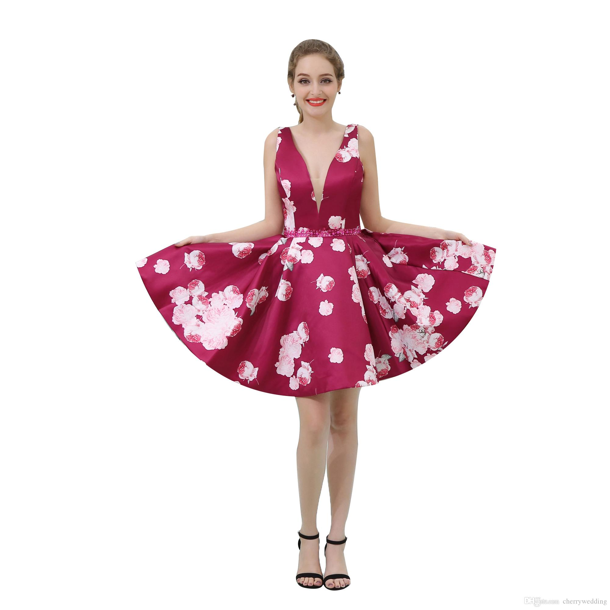 Fashion Short Mini Printed Prom Dresses Cheap Prom Dresses Formal Gowns Beaded Waist Party Dresses Deep V B042
