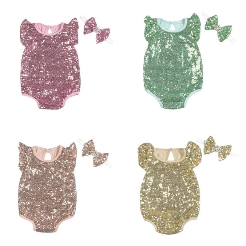 2a599c4dd6f 2019 Baby Girls Sequins Romper Fly Sleeve + Bow Headband Set Infant  Jumpsuit Summer Clothes Newborn Bodysuit Kids Clothing From Kids show