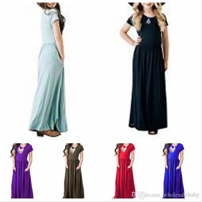 Girls Dresses Solid Maxi Short Sleeve Holiday Baby Swing Long Dress Beach Casual Dress Princess Party Evening Dresses with Pockets C5863