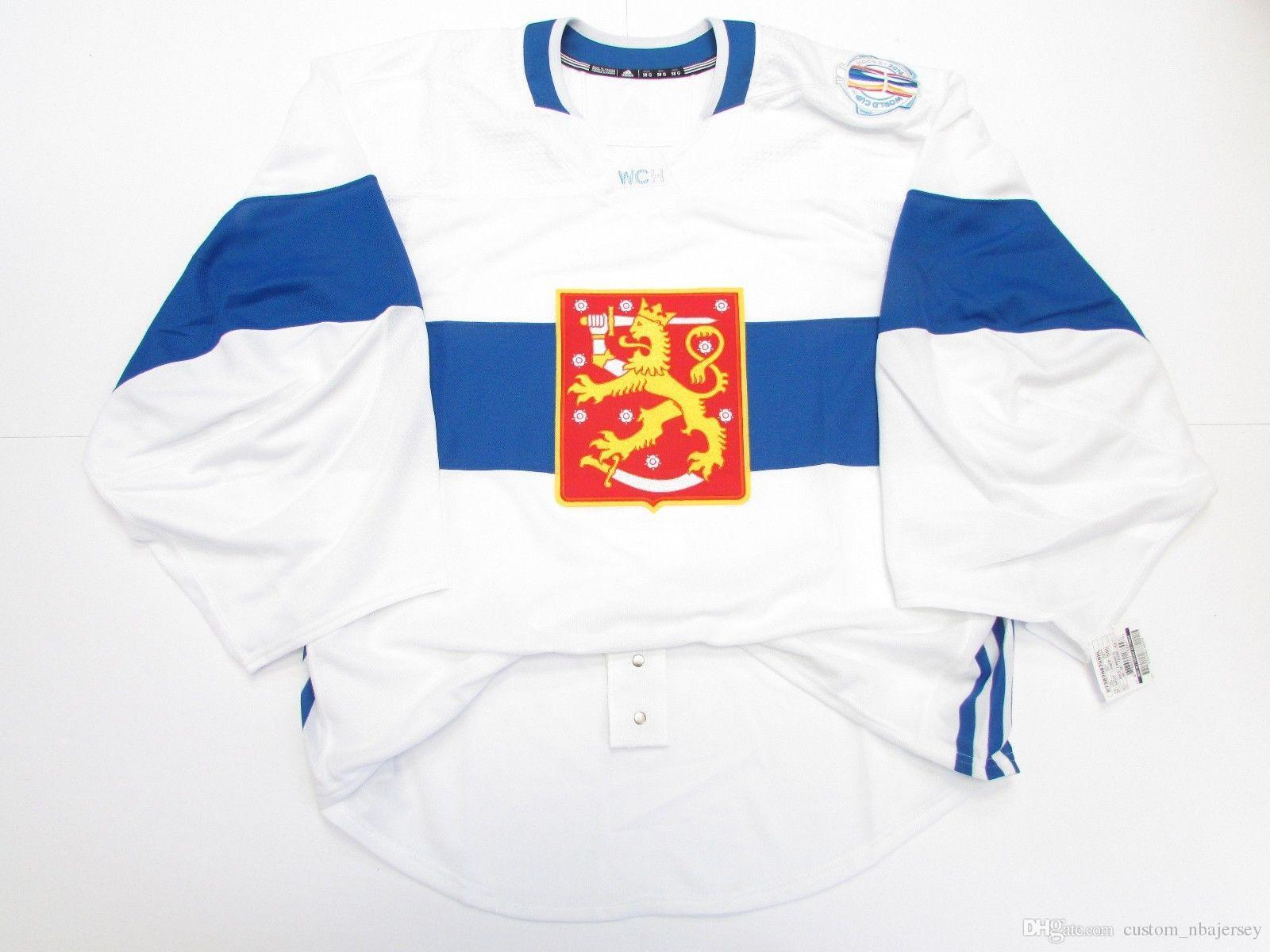 83b6ce1ee 2019 Cheap Custom FINLAND WHITE 2016 WORLD CUP OF HOCKEY JERSEY GOALIE CUT  58 Stitch Add Any Number Any Name Mens Hockey Jersey From Custom nbajersey