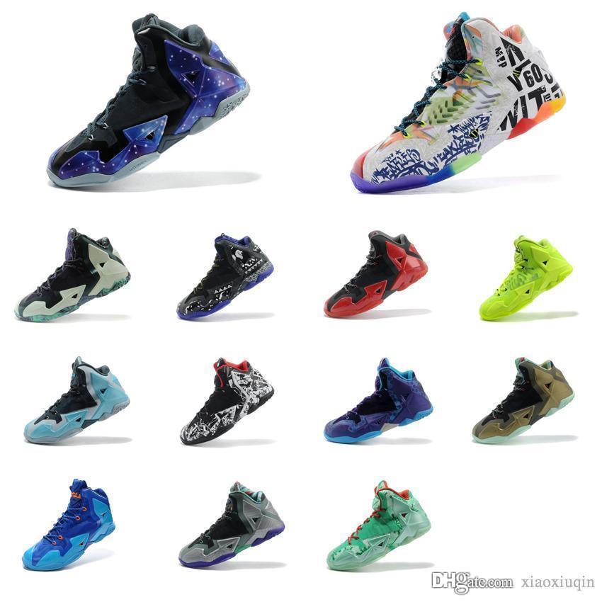 cheap for discount 8877b 146fc Acheter Chaussures De Basketball Lebron 11 Pas Cher Pour Hommes À Vendre  Easter MVP Championship BHM Rouge Noir Bleu Marron Vert Lueur Baskets  Tennis Avec ...
