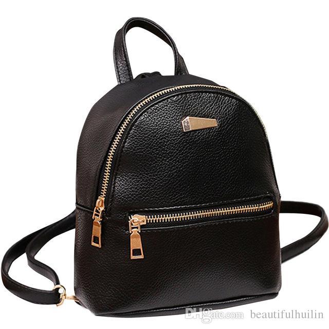 Women PU Leather Backpack School Rucksack College Shoulder Solid Fashion  Ladies Satchel Travel Bag Mochila Feminina Small Backpacks HBKB008 Womens  Backpacks ... aed4cd5d03e03