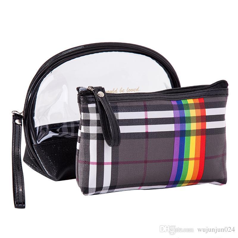 09eb4090c Mujeres PVC bolsa de maquillaje de tela escocesa 2 unids conjuntos Panelado  deslumbrante lavado Kits de artículos de tocador Bolsa de cosméticos Mujer  ...