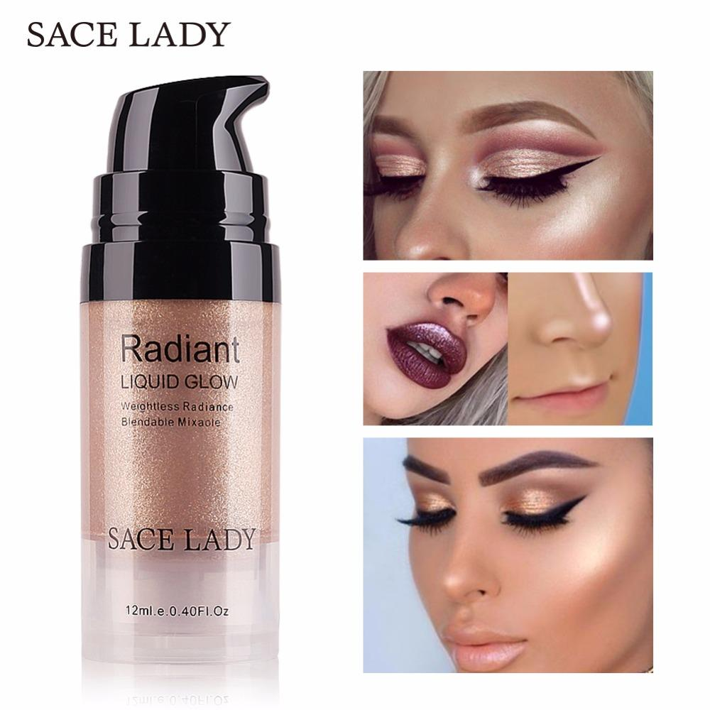 SACE LADY Illuminator Makeup Highlighter Cream Face Brighten Professional Shimmer Make Up Liquid Glow Kit Brand Cosmetic