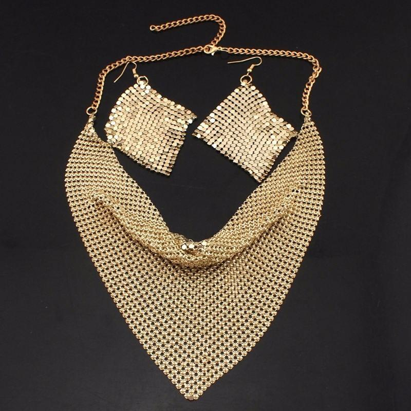 MANILAI Indian Jewelry Set Chic Style Shining Metal Slice Bib Choker Necklaces Earrings Party Wedding Fashion Jewelry Sets 2018