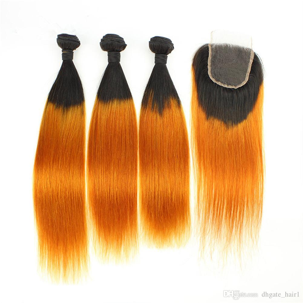 Indian Human Hair Straight Ombre Orange 3Bundles with Closure Straight #1B/Orange Ombre Human Hair Lace Closure Piece 4x4 with Weave Bundles