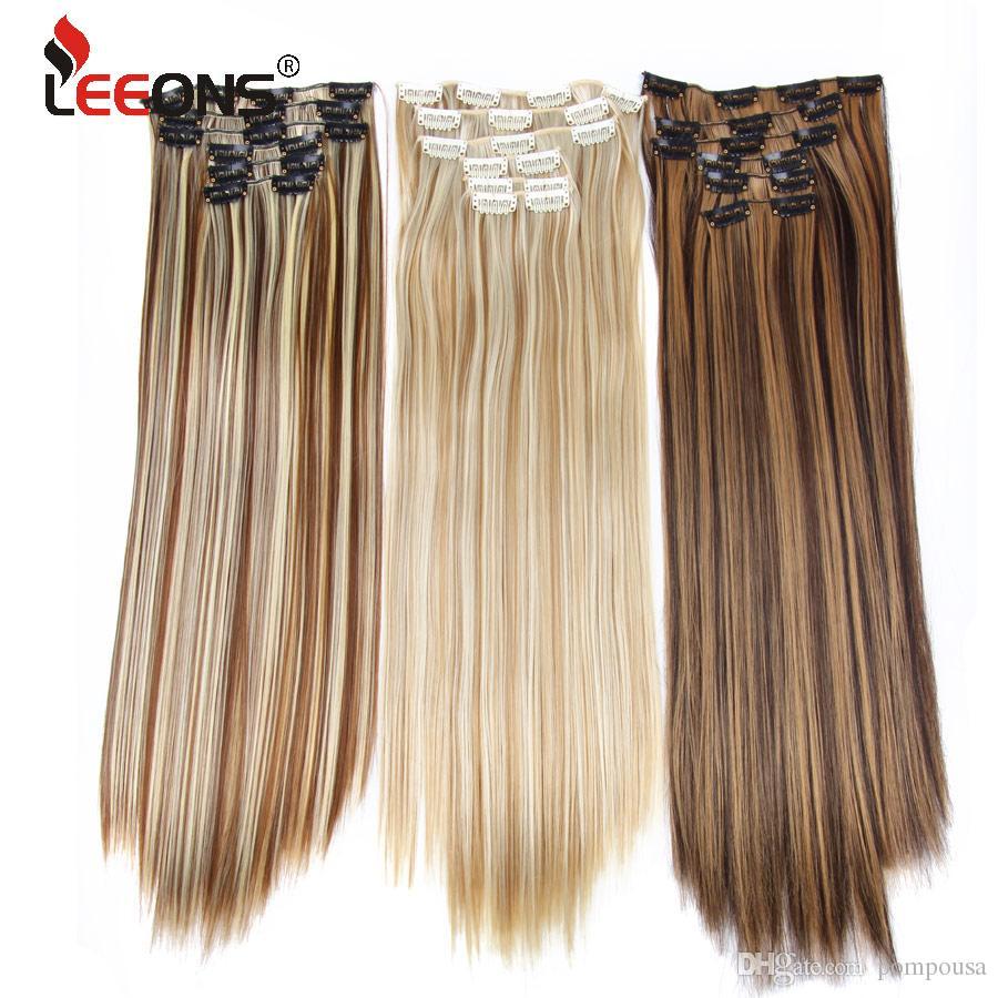 Long Straight Synthetic Hair Extensions Clips High Temperature Fiber Black Blonde Hairpiece For Bulk Braiding Hair Braiding Hair Bulk From Pompousa