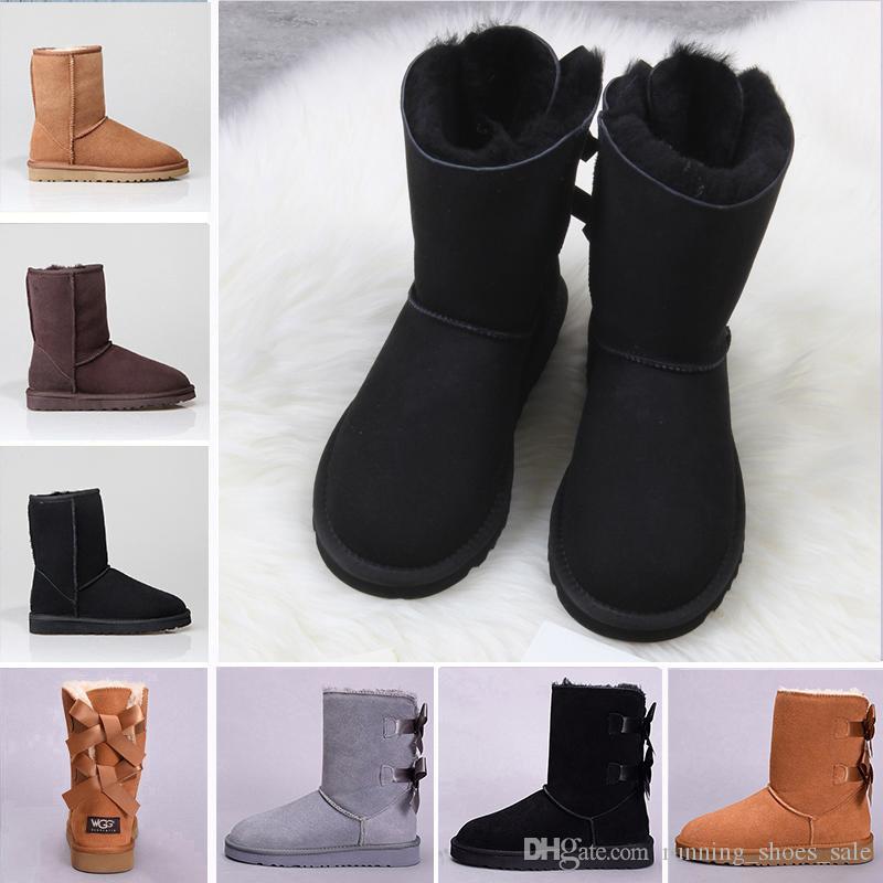 Großhandel UGG BOOTS Günstige Qualität WGG Bowtie Kristall Frauen  Australien Klassische Knie Stiefel Schwarz Grau Kastanien Frauen Mädchen  Mode Schnee ... 41c6f5e18e