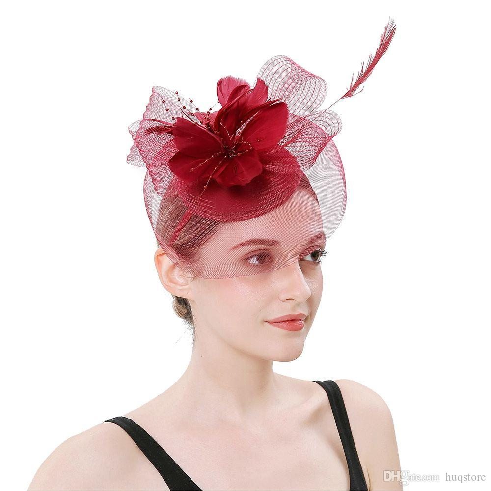 Women Party Headwear Fashion Lady Feather Flower Mesh Banquet Hat Headband  Hair Accessory Wedding Headdress Cocktail Hat Headband Accessories Hair  Jewelry ... c64eb99a932