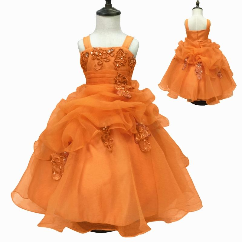 9f6d49ee627fd Free Shipping 2-10 Years Kids Party Dress 2019 New Arrival Orange Flower  Girl Dresses For Weddings Organza Ball Gown With Bustle