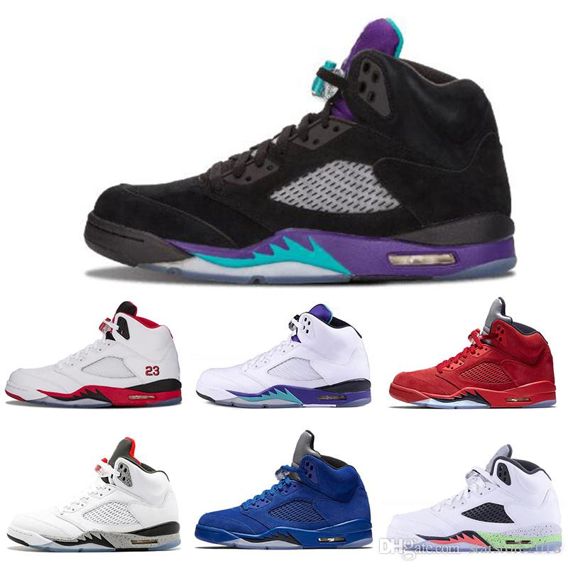 newest 1529c fca60 Großhandel Nike Air Jordan 5 5s 2019 Großhandel Herren Basketball Schuhe 5  5s Black Grape White Cement Olympische Goldmedaille Space Jam Blue Fire Red  Sport ...
