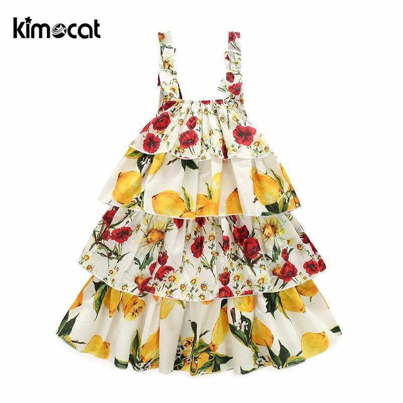 3a3964886c69 2019 Kimocat Baby Girls Dress Summer Beach Style Floral Lemon Fruit Print  Backless Layered Dress Cute Sleeveless Kids From Ys_shop, $20.55 |  DHgate.Com