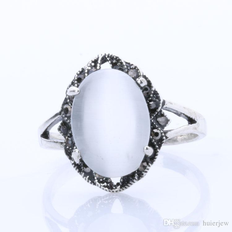 Bagues Pour Les Femmes Bijoux Pas Cher Bague Plaqué Argent Bague Ovale Blanc Opale Bague De Fiançailles De Mariage