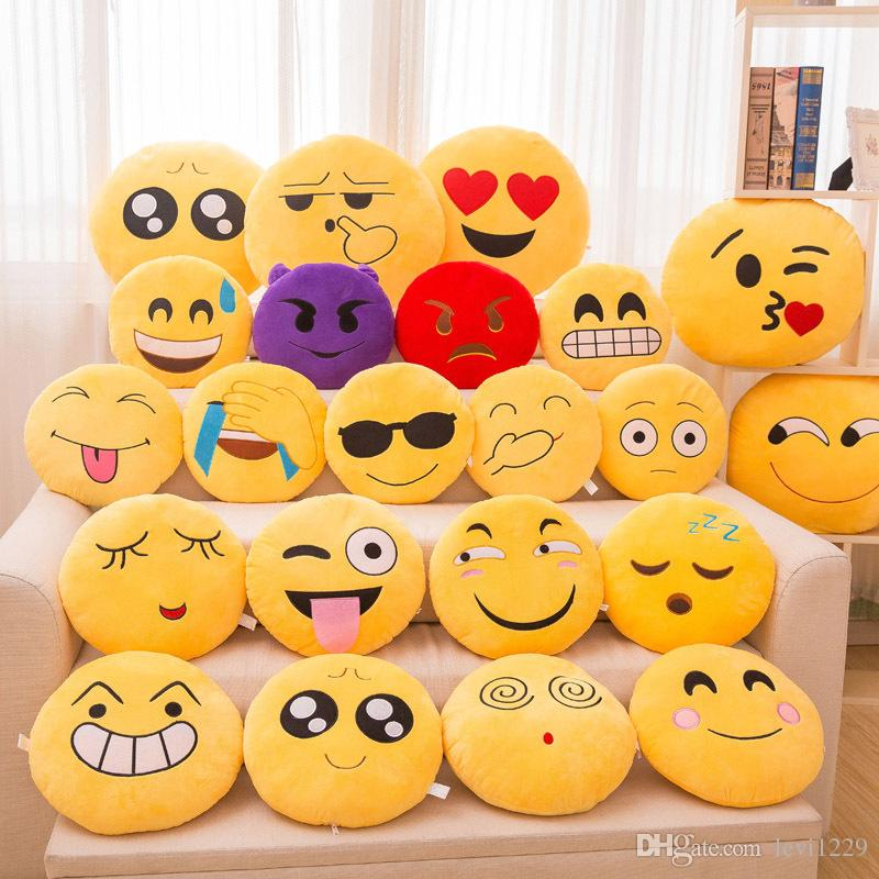 32Cm Cute Soft Smiley Emoji Pillow Funny Emoticon Cushion Stuffed Plush Toy  Car Seat Decorative Throw Pillow Girlfriend Gift