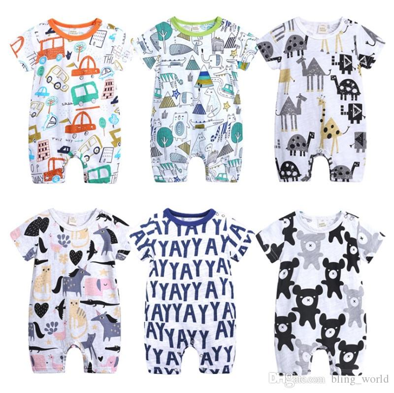 5c6b565bdca 2019 Baby Rompers Cartoon Doodle Boy Jumpsuits Short Sleeve Girls Romper  Casual Infant Climbing Clothes Summer Kids Clothing 6 Designs YW1941 From  ...