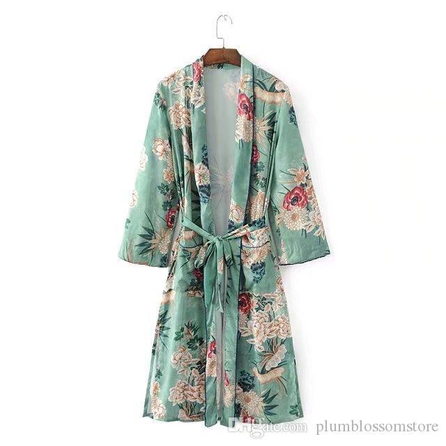 2b18ed84053b Blusas estampadas florales camisas kimono largo Mujeres fajas bolsillo  kimono cardigan Elegent manga larga verano blusa bohemia tops de playa  venta ...