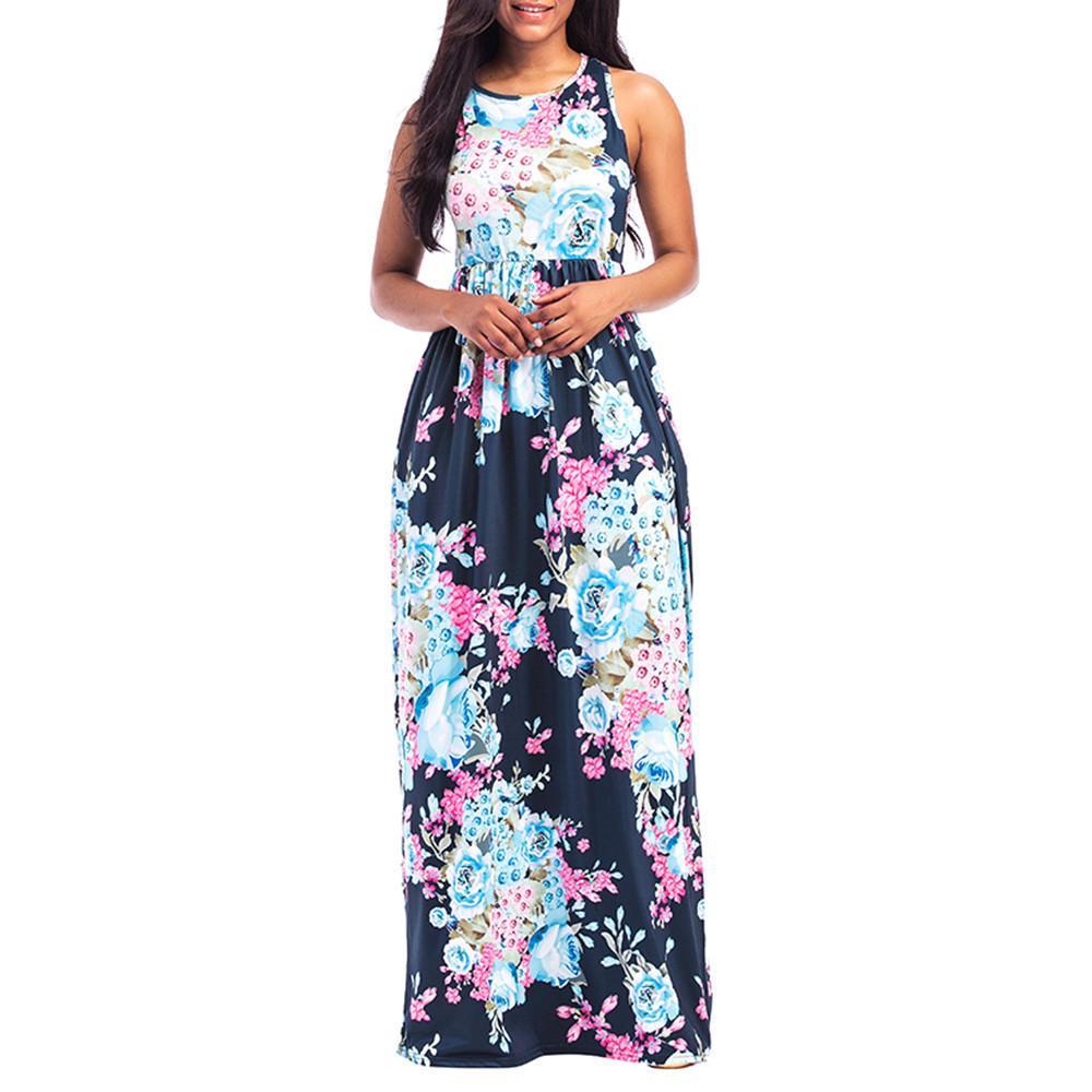 60173b7d0e Compre Buena Calidad Moda Mujeres Sexy Estampado Floral Ronda O Cuello Sin  Mangas Largo Maxi Casual Beach Dress Vestido De Gasa Nacional A  36.23 Del  ...