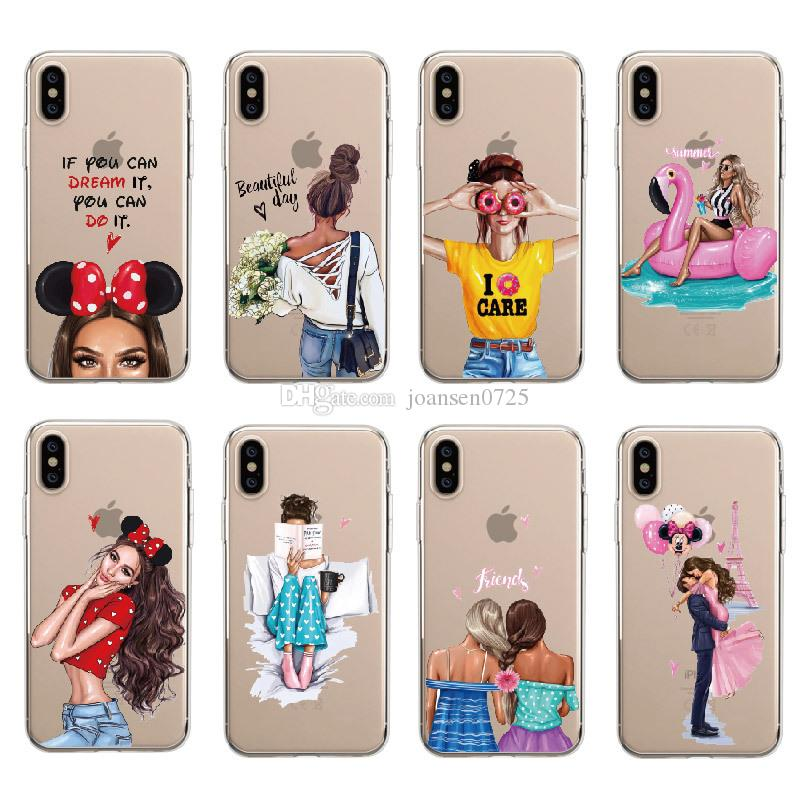 8a9dd69404 Soft TPU Phone Case For IPhone X 8 7 6 6s Plus 5S XS Max XR Samsung Galaxy  S6 S7 Edge S8 S9 Plus Note 8 Fashion Girl Painted Silicone Cover Cute ...