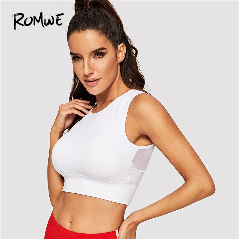61a195b31ed546 2019 Romwe Sport White Mesh Insert Crop Sport Bra Plain Round Neck Stretchy  Running Vest Women 2019 Summer Exercise Tank Tops From Pearguo