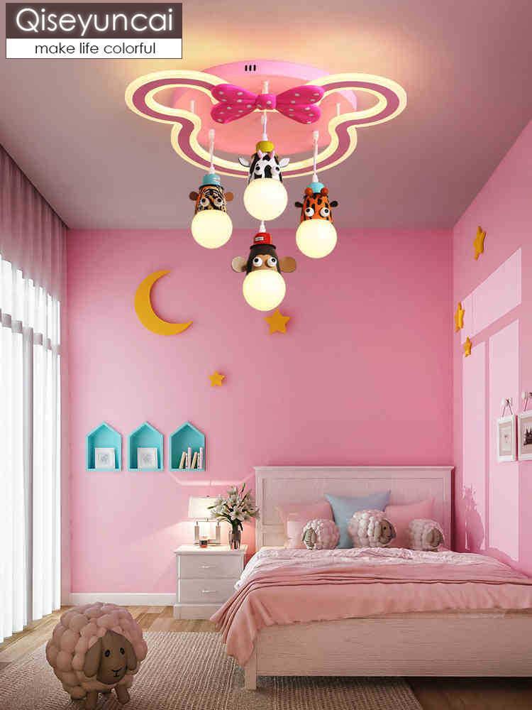 Acheter Qiseyuncai Moderne Chambre Du0027enfant Rose Bande Dessinée Led Lampe  De Plafond Créatif Maternelle Dessin Animé Animal Ours Lampe De Chambre  Princesse ...