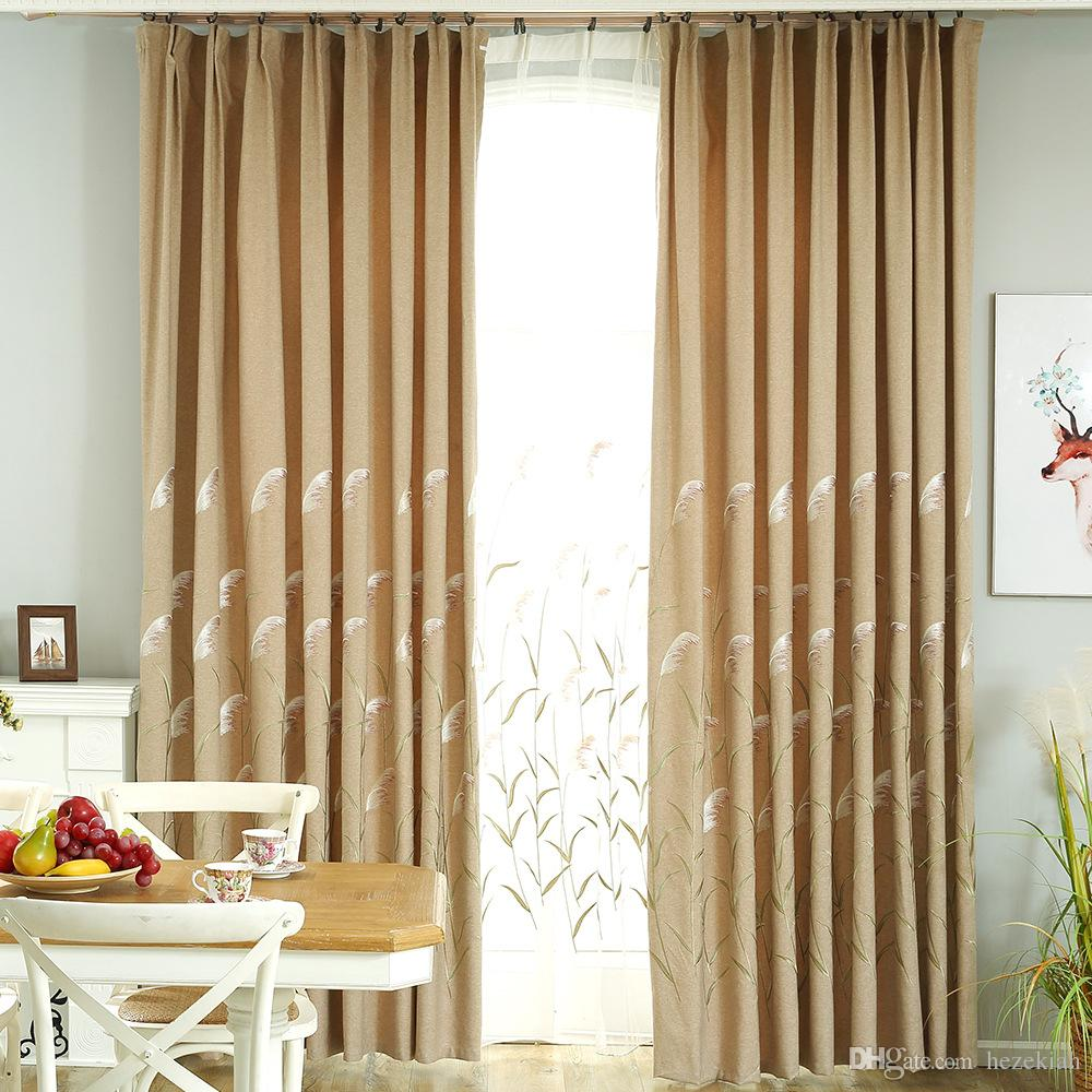 Country side style Nordic blackout curtains living room bedroom balcony  curtain finished Curtain cloth European embroidery ecological linen