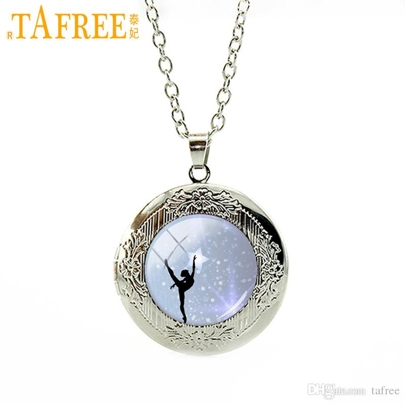 TAFREE Women charms gifts Ballet Dancer locket pendant Art Gymnastics Dance Ornament Ballerina Pendant Necklace jewelry N1037