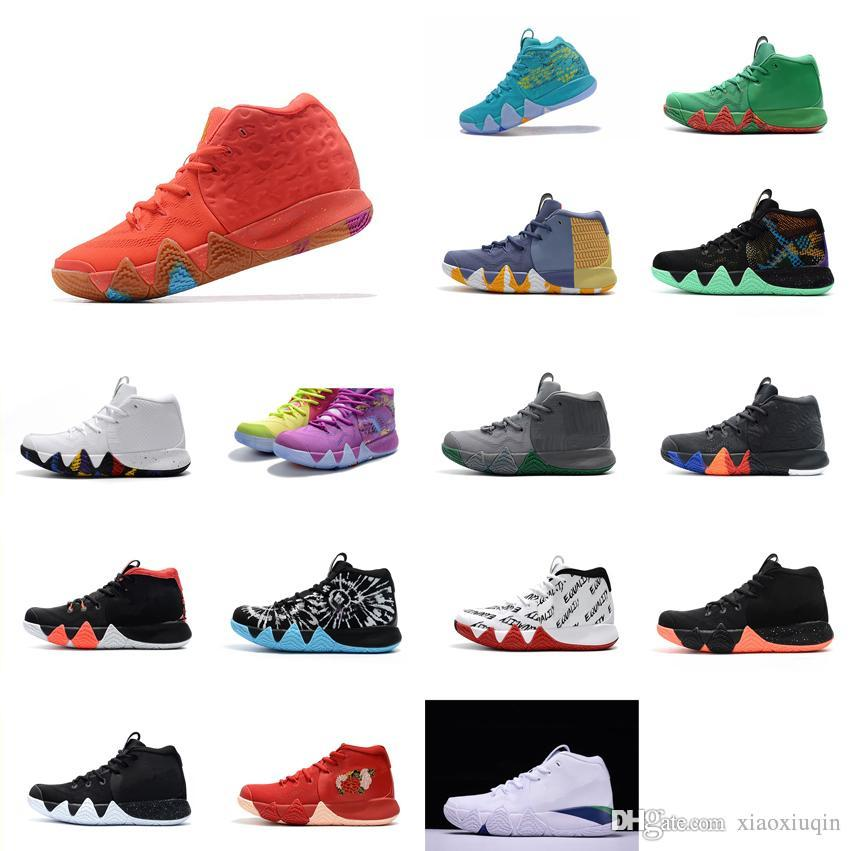 buy online 36fe9 22fc0 Cheap Women Kyrie basketball shoes for sale Lucky Charms Team Red BHM Black  Boys Girls Youth Kids kyries irving 4 sneakers boots with box