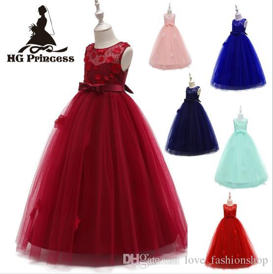 1pcs Girls plus size lace Flower Beaded ball wedding gowns Kids pageant dresses girls floor lengths layers baptism dresses Clothing