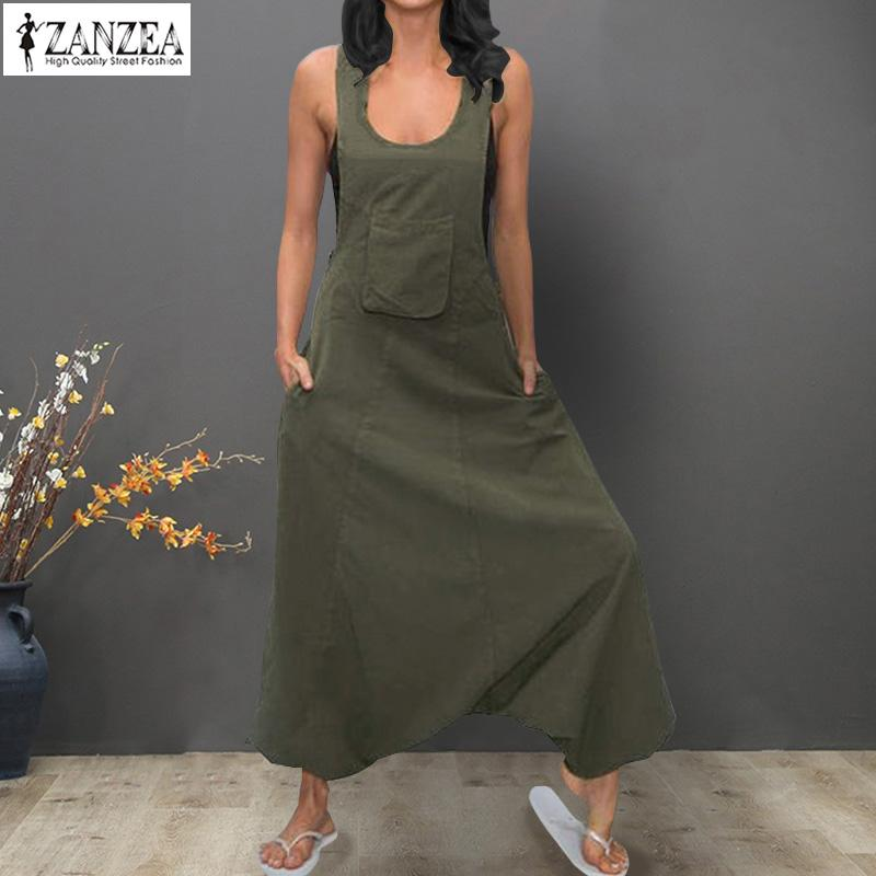6b2af8aa160b 2019 Women Jumpsuits ZANZEA 2019 Vintage Linen Overalls Dungarees Playsuits  Female Solid Wide Leg Trousers Drop Crotch Pant Oversized From Xiatian4