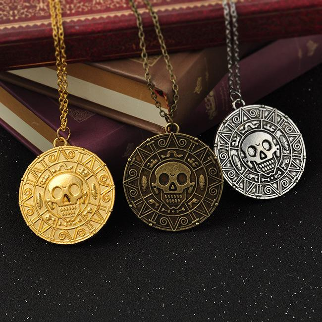 Vintage Bronze Gold Coin Pirate Charms Aztec Coin Necklace Men's Movie Pendant Necklaces for Lady Xmas Gift Fashion Jewelry KKA3997