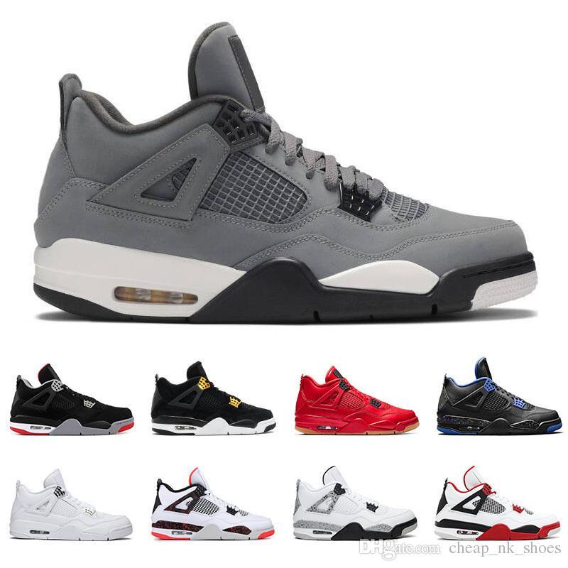 nouveau produit 126d1 4531e air Jordan retro 4 Nouvelle arrivée 4 4s Bred Fire Red hommes chaussures de  basket-ball Pure Money White Cement Chat noir Toro Bravo Sports Sneakers ...