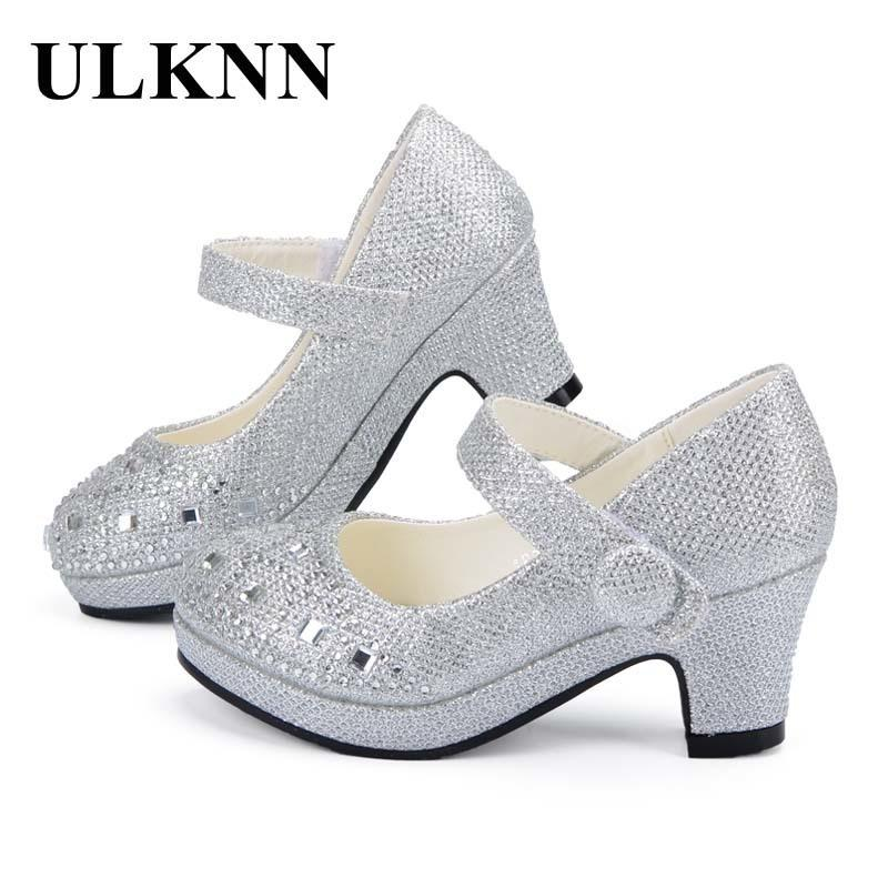 ULKNN Children Princess Shoes for Girls Sandals High Heel Glitter Shiny Rhinestone Enfants Fille Female Party Dress Shoes Y18110304