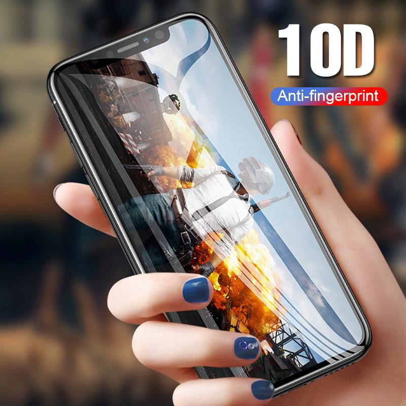 10D tempered glass screen protector on the for Iphone XR XS MAX X 8 7 6S plus curved full cover adhesive glue protective glass film