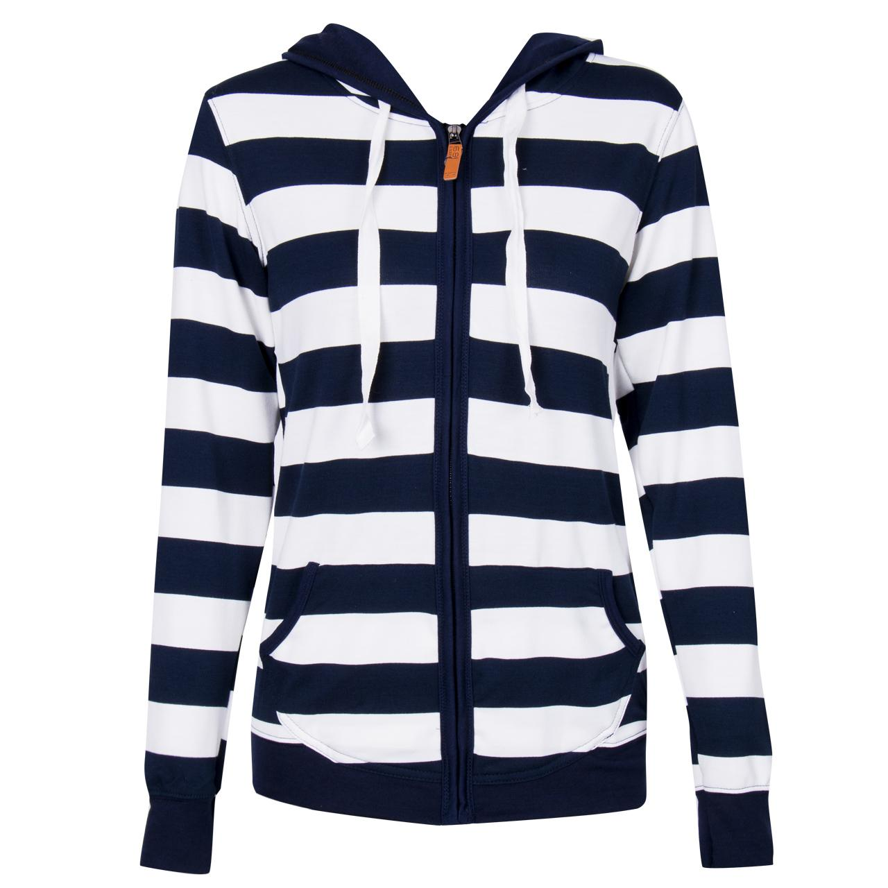 Women Oversize Coats Clothes Autumn Winter Striped Zipper Tops Hooded Coat Jackets For Women Casual Slim Coat Plus Size S-XL