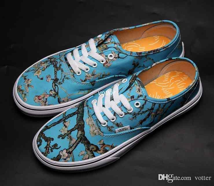 Nuovo Slip-On Gogh Museum x Sunflower Old Skool Mens Womens Casual Shoes Fiori Canvas Skateboard Sport Sneakers 6fgh
