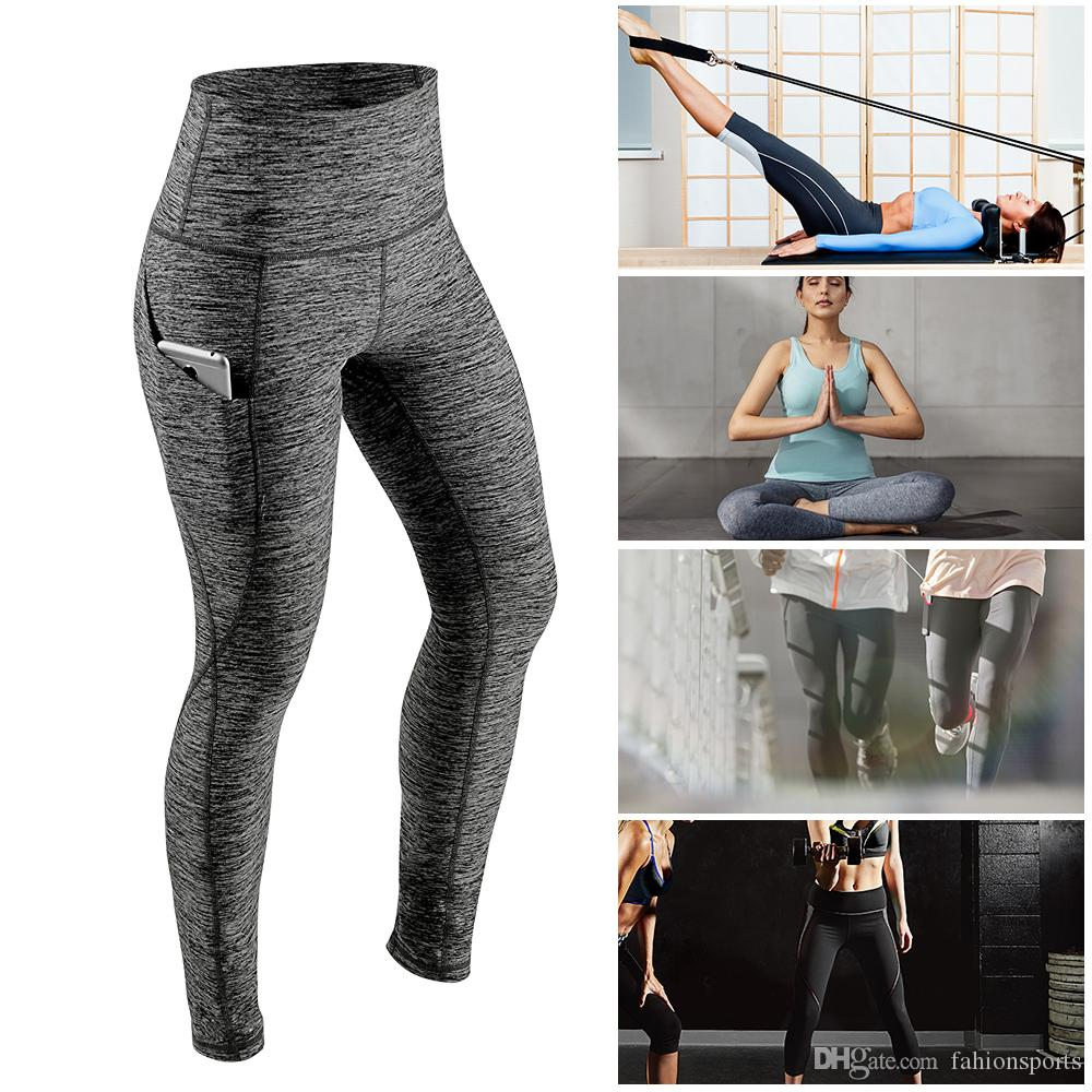 c25898293a8 Women s Yoga Pants Running Pants Tights Tummy Control Workout Running 4 Way  Stretch Yoga Leggings Tights High Waist with Pocket