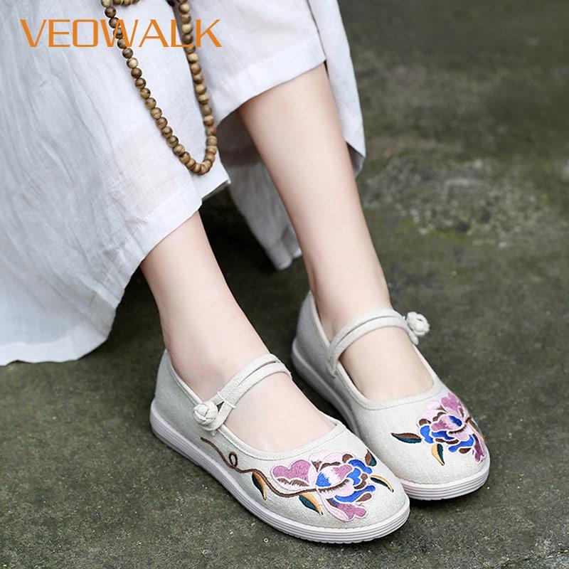81596fca422ba Veowalk Handmade Women Comfort Canvas Mary Janes Flats Floral Embroidery  Ladies Casual Cotton Shoes Platforms Hanfu Dance Shoes