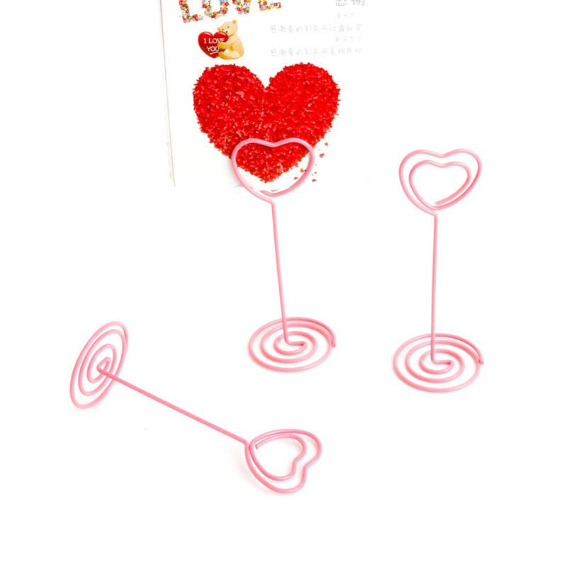 Pink Heart Shape Stand Holder Wedding Party Seat Clip Decoration Message  Card Holder Clip Photo