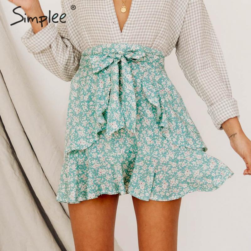 Simplee Summer Floral Print Short Skirt Female Sweet Green Cotton Lace Up Short Women Skirt High Waist Boho Beach Skirt 2019 Women's Clothing Bottoms