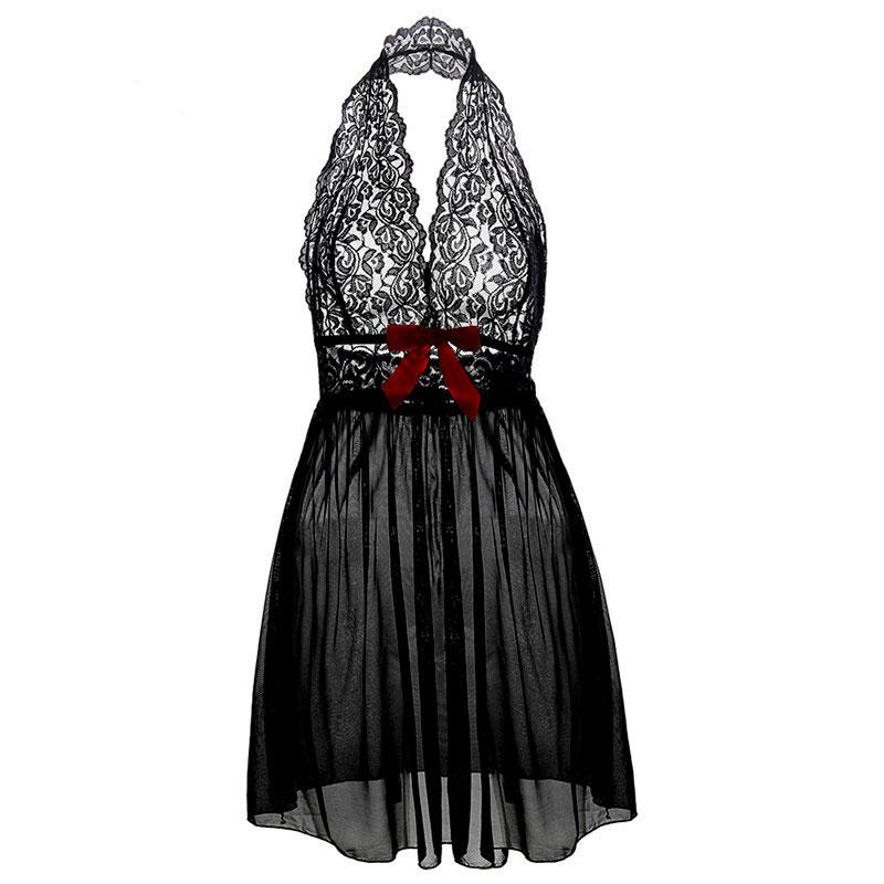 M L XL XXL 3XL 5XL 6XL Plus Size Deep V Neck Women Lace Sexy Lingerie Hot Erotic Bow Transparent Dress Porno Costumes Nightwear