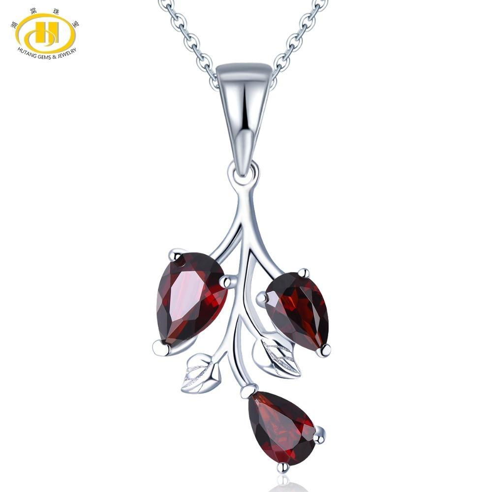 Hutang Garnet Pendant Solid 925 Sterling Silver Natural Gemstone Necklace Fine Fashion Stone Jewelry For Women's Girl's Gift New Y19061003