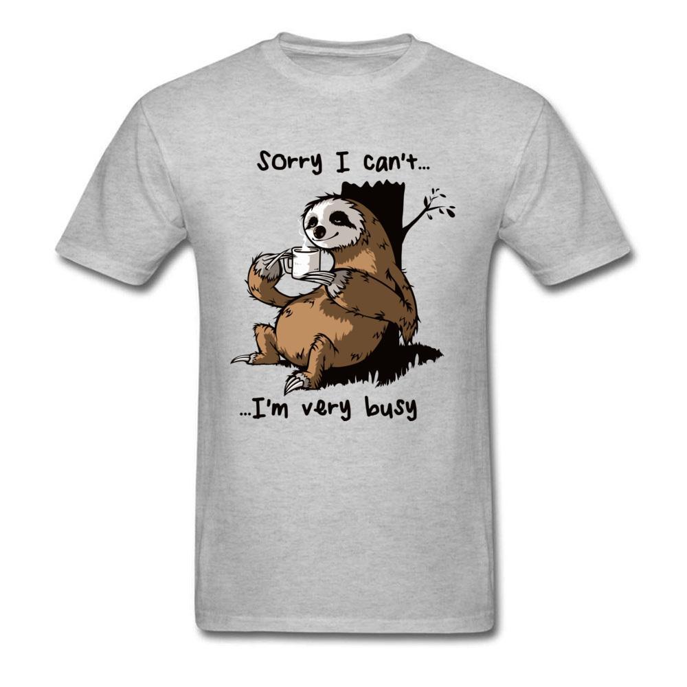 Compre Muy Ocupada Camiseta De La Pereza De Los Hombres Top Camisetas  Camisetas Divertidas De Dibujos Animados Verano Nuevas Camisetas Grises De  Algodón De ... 7e4dddd3afcc0
