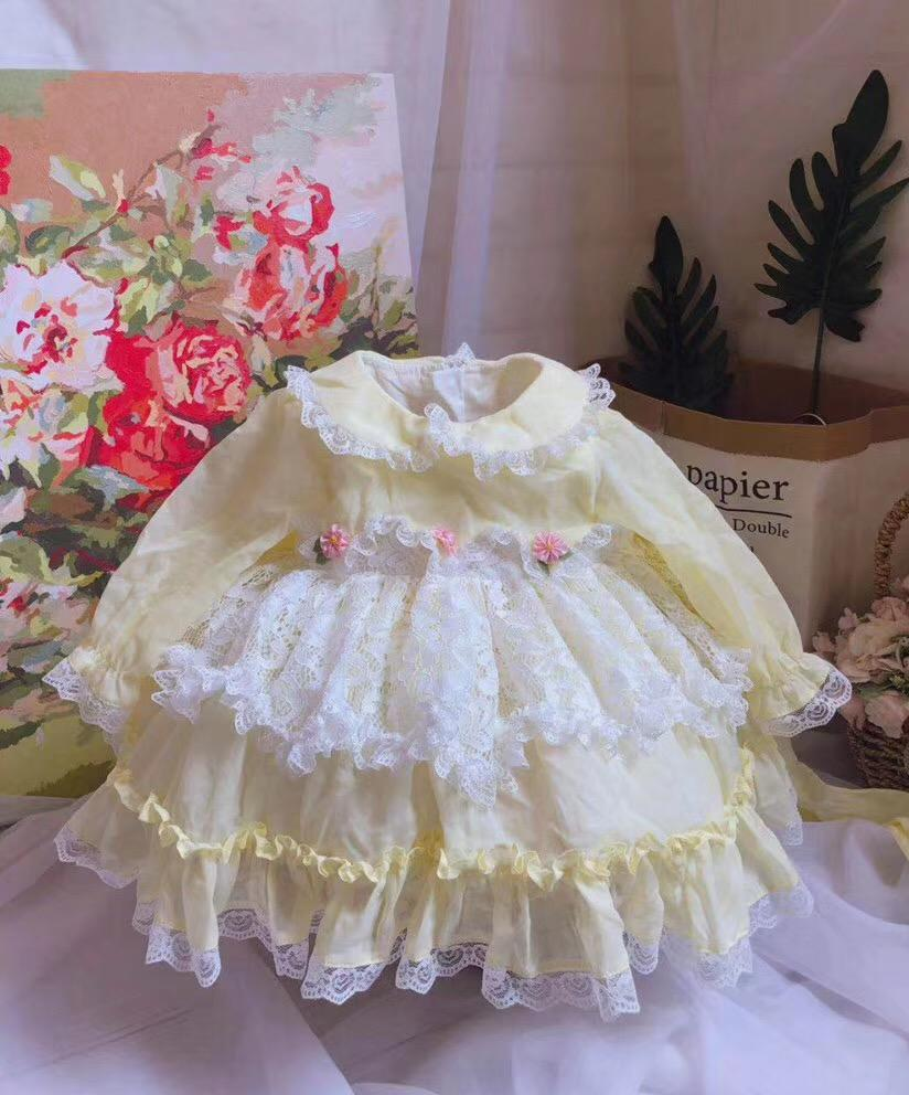 0-7Y Baby Girl Autumn Winter Yellow Long Sleeve Europe Vintage Spanish Lolita Lace Princess Ball Gown Dress Girl Party Dress