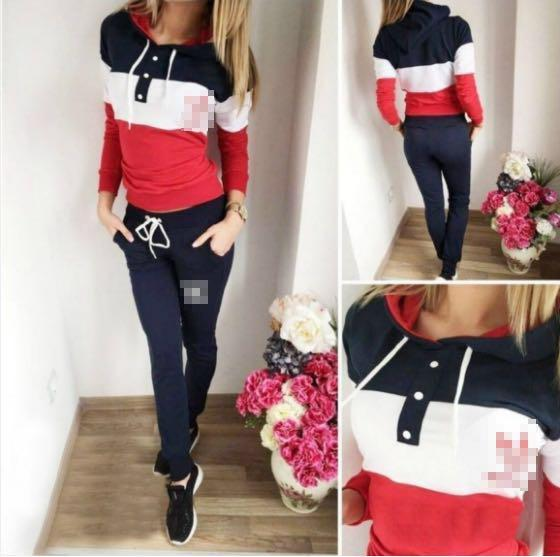 PINK Women Two Piece Clothing Set Autumn Tracksuit Patchwork Hoodie Sweatshirt Long Pant Jogger Outfit Set Female Sweat Suit Factory PINK