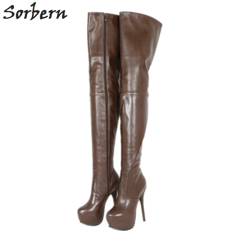 94e971b83 Deep Coffee Boots Women Over Knee Med Thigh High Ladies Boot Platform High  Heel Custom Long Leg Length And Wide Calf Womens Boots Boots Uk From  Hadfunn, ...