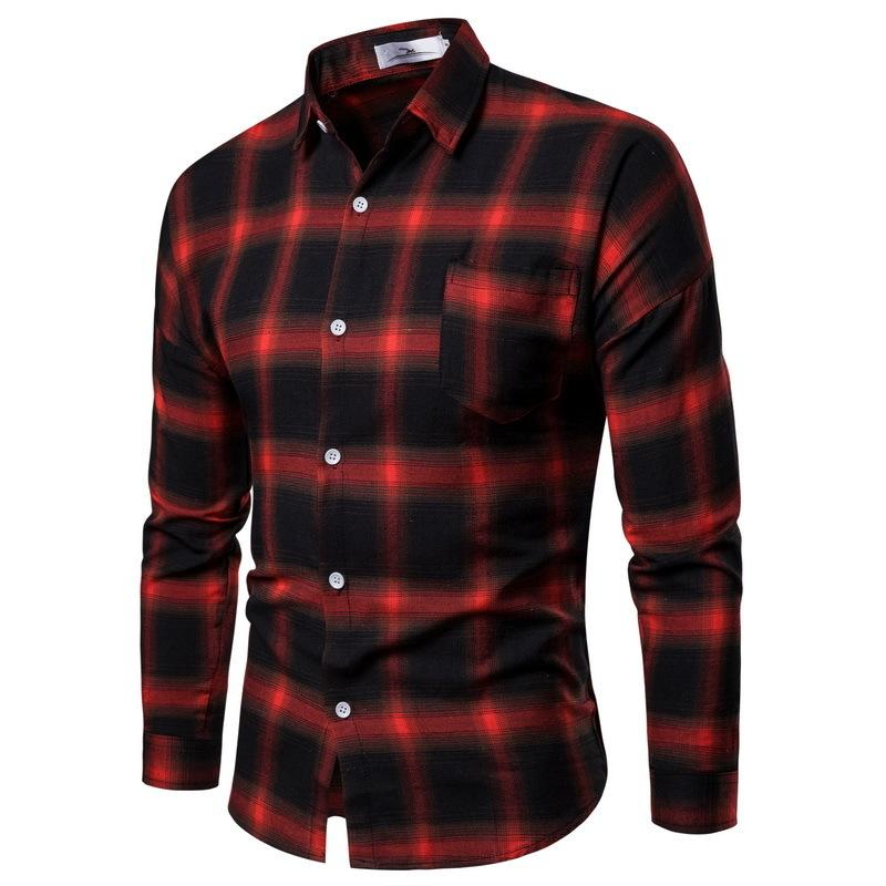 85655db4a81 2019 New Autumn Winter Red Checkered Shirt Mens Shirts Long Sleeve Chemise  Homme Cotton Male Check men Shirts