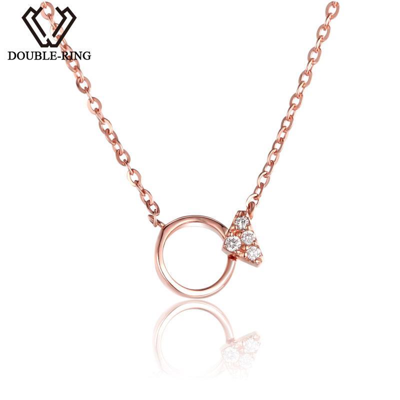 d7ab81286f69 Compre 18 K Oro Joyería Fina Collares De Diamantes SI 0.02ct Buen Corte  Rosa Romántica Boda Colgantes Personalizados CASN02415KA Para Charm Mujeres  A ...