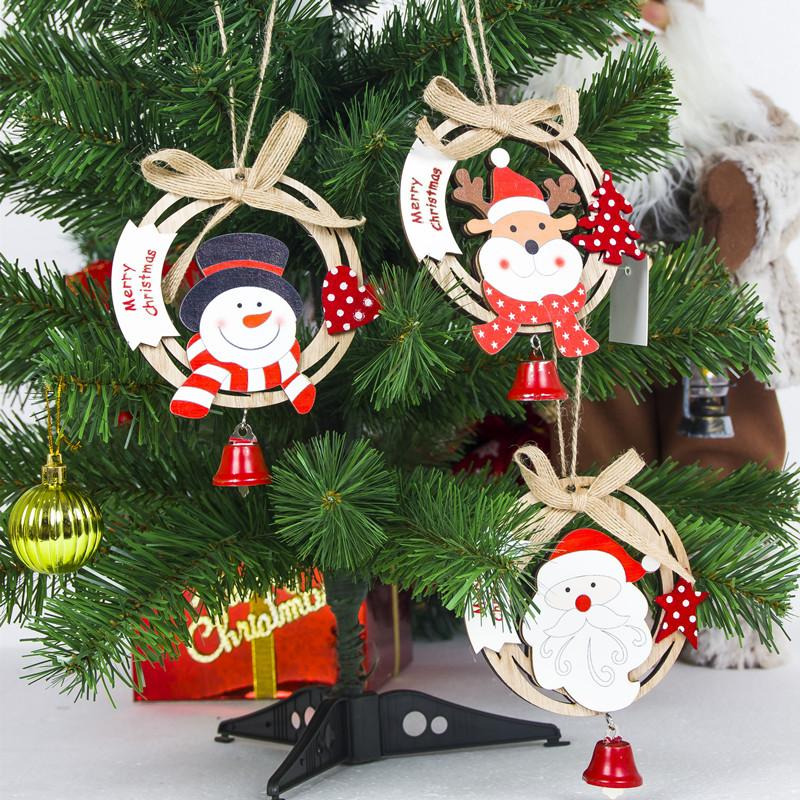 Cute Santa Clause Bow Bell Christmas Tree Ornament Decoration Wooden Snowman Elk Hanging Pendant Christmas Decorations for Home