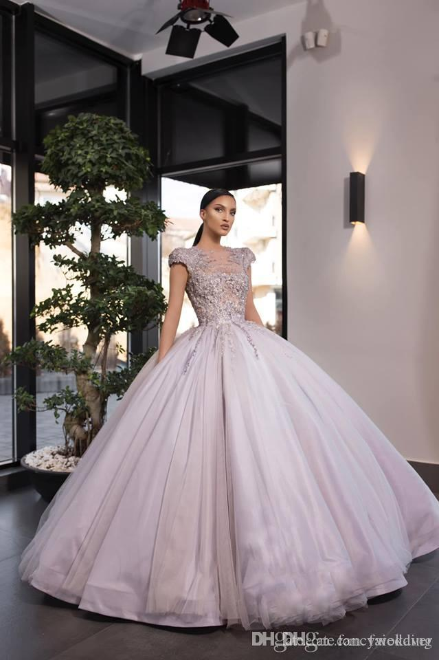2019 Gorgeous Ball Gown Prom Dresses Jewel Neck Lace Appliqued Beads Long Sleeve Eening Gowns With Petticoat Custom Made Quinceanera Dresses